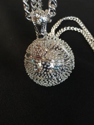 Silver Diamond Basketball Necklace  069db7924413